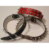 Wide leather collars lined trimmed