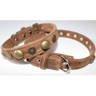Collar decorated with recycled leather 2x35cm